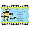 Blue Monkey Boy - Personalized Baby Shower Invitations