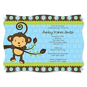 Blue Monkey Boy - Personalized Baby Shower Invitations - Set of 12