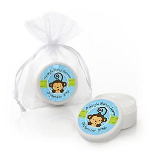 Blue Monkey Boy - Personalized Baby Shower Lip Balm Favors - Set of 12