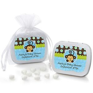 Blue Monkey Boy - Personalized Baby Shower Mint Tin Favors