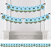 Blue Monkey Boy - Personalized PartyBunting Banner & Decorations