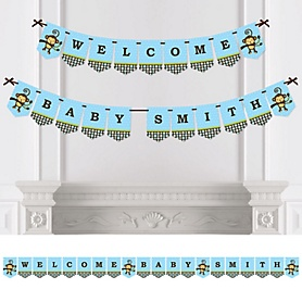 Blue Monkey Boy - Personalized Party Bunting Banner & Decorations