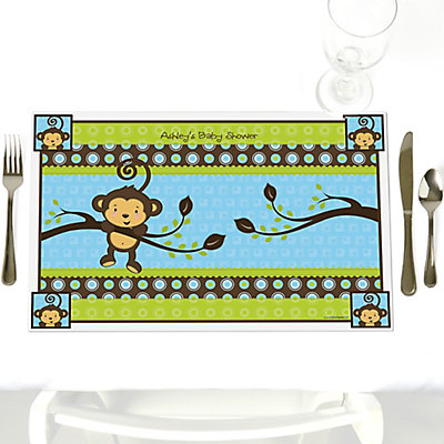 Blue Monkey Boy Party Table Decorations Personalized Baby Shower