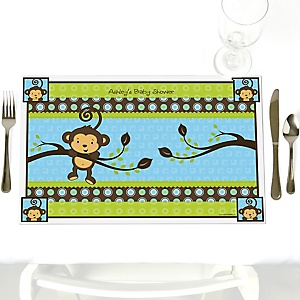 Blue Monkey Boy - Personalized Baby Shower Placemats