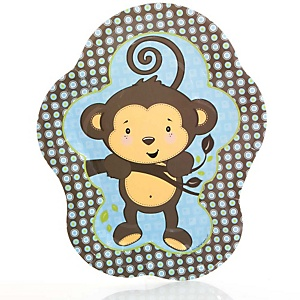 Blue Monkey Boy - Baby Shower Dinner Plates - 8 ct