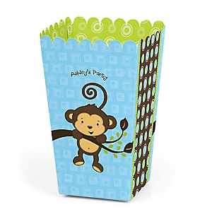 Blue Monkey Boy - Personalized Party Popcorn Favor Treat Boxes