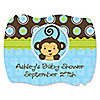 Blue Monkey Boy - Personalized Baby Shower Squiggle Stickers - 16 ct