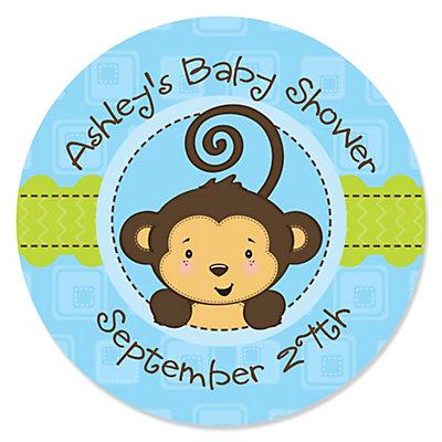 Blue Monkey Boy Personalized Baby Shower Sticker Labels 24 Ct