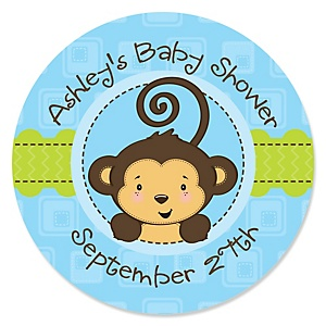 Blue Monkey Boy - Personalized Baby Shower Sticker Labels - 24 ct