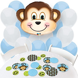 Blue Monkey Boy - Confetti and Balloon Party Decorations - Combo Kit
