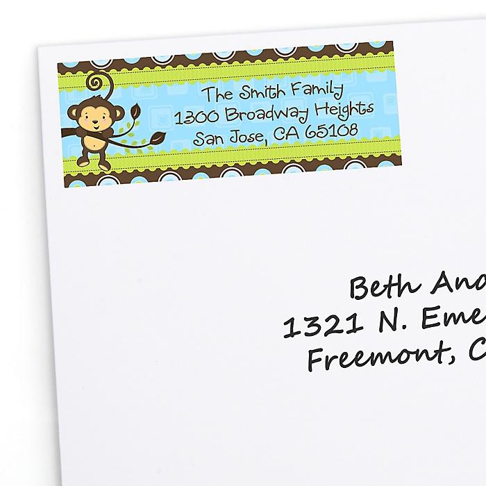 Blue Monkey Boy - Personalized Birthday Party Return Address Labels - 30 ct