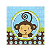 Blue Monkey Boy - Birthday Party Beverage Napkins - 16 ct