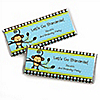 Blue Monkey Boy - Personalized Birthday Party Candy Bar Wrapper Favors