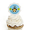 Blue Monkey Boy - Personalized Birthday Party Cupcake Pick and Sticker Kit - 12 ct