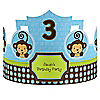 Blue Monkey Boy - Personalized Birthday Party Hats - 8 ct