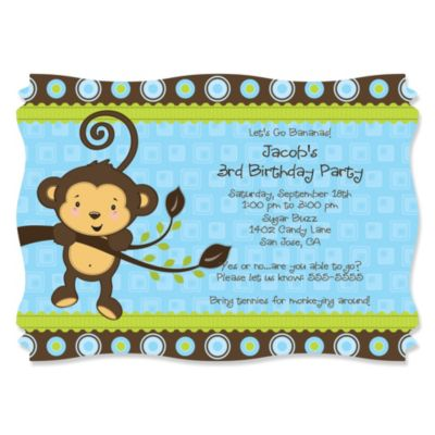 Blue Monkey Boy Personalized Birthday Party Invitations