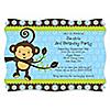 Blue Monkey Boy - Personalized Birthday Party Invitations