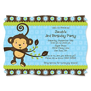 Blue Monkey Boy - Personalized Birthday Party Invitations - Set of 12