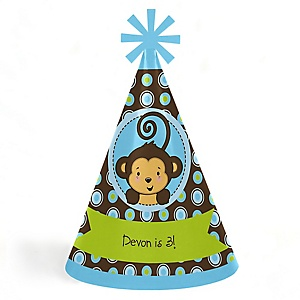 Monkey Boy - Personalized Cone Happy Birthday Party Hats for Kids and Adults - Set of 8 (Standard Size)