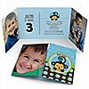 Blue Monkey Boy - Personalized Birthday Party Photo Invitations - Set of 12