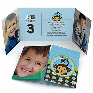 Blue Monkey Boy - Personalized Birthday Party Photo Invitations - Set of 12