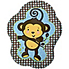 Blue Monkey Boy - Birthday Party Dinner Plates - 8 ct