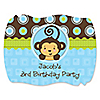 Blue Monkey Boy - Personalized Birthday Party Squiggle Stickers - 16 ct