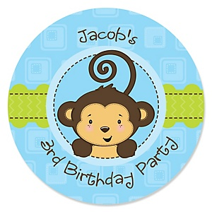 Blue Monkey Boy - Personalized Birthday Party Sticker Labels - 24 ct