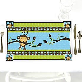 Blue Monkey Boy - Party Table Decorations - Baby Shower or Birthday Party Placemats - Set of 12