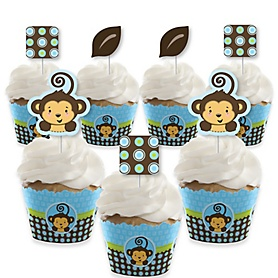 Blue Monkey Boy - Cupcake Decoration - Baby Shower or Birthday Party Cupcake Wrappers and Treat Picks Kit - Set of 24