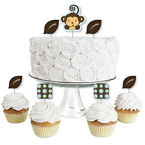 Monkey Boy - Dessert Cupcake Toppers - Baby Shower or Birthday Party Clear Treat Picks - Set of 24