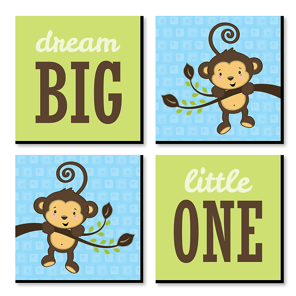 Blue Monkey Boy Nursery Decor 11 X 11 Inches Kids Wall Art Baby Shower Gift Ideas Set Of 4 Prints For Baby S Room