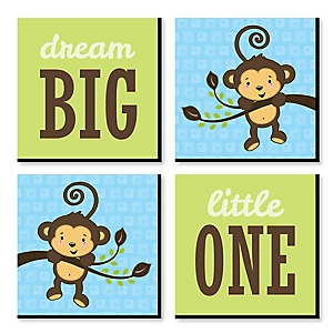 "Blue Monkey Boy - Nursery Decor - 11"" x 11"" Kids Wall Art - Baby Shower Gift Ideas - Set of 4 Prints for Baby's Room"