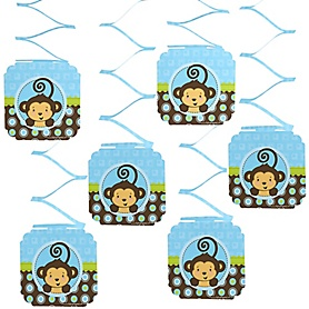 Blue Monkey Boy - Baby Shower Hanging Decorations - 6 ct