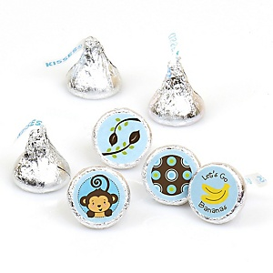 Blue Monkey Boy - Round Candy Labels Party Favors - Fits Hershey's Kisses 108 ct