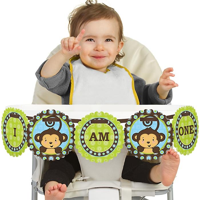 Blue Monkey Boy 1st Birthday - I am One - First Birthday High Chair Banner