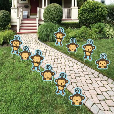 Blue Monkey Boy Lawn Decorations Outdoor Baby Shower or