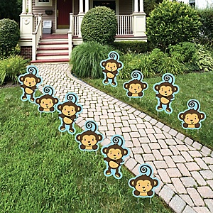 Blue Monkey Boy - Lawn Decorations - Outdoor Baby Shower or Birthday Party Yard Decorations - 10 Piece