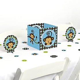 Blue Monkey Boy - Baby Shower or Birthday Party Centerpiece and Table Decoration Kit