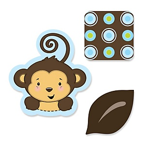 Blue Monkey Boy - Shaped Party Paper Cut-Outs - 24 ct