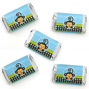 Monkey Boy - Mini Candy Bar Wrapper Stickers - Baby Shower or Birthday Party Small Favors - 40 Count
