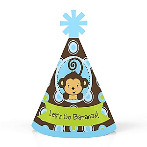 Monkey Boy - Personalized Mini Cone Baby Shower or Birthday Party Hats - Small Little Party Hats - Set of 10