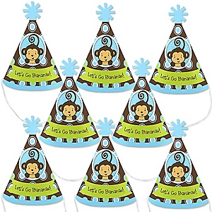 Monkey Boy - Mini Cone Baby Shower or Birthday Party Hats - Small Little Party Hats - Set of 8