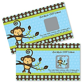 Blue Monkey Boy - Baby Shower Game Scratch Off Cards - 22 ct