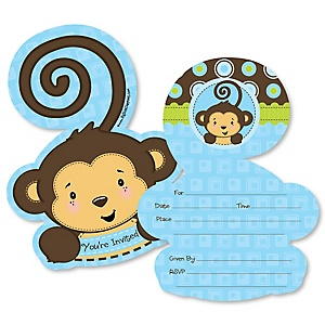 Monkey Boy - Shaped Fill-In Invitations - Baby Shower or Birthday Party Invitation Cards with Envelopes - Set of 12