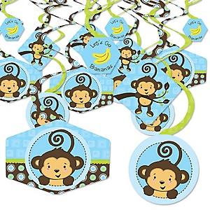 Blue Monkey Boy - Baby Shower or Birthday Party Hanging Decor - Party Decoration Swirls - Set of 40
