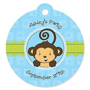 Blue Monkey Boy - Round Personalized Party Tags - 20 ct