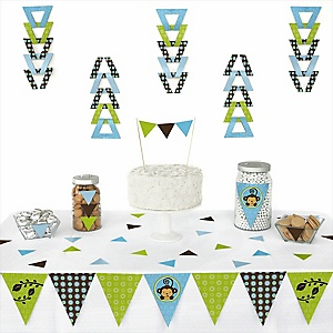 Blue Monkey Boy - 72 Piece Triangle Party Decoration Kit