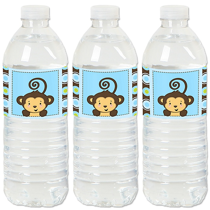 Blue Monkey Boy - Baby Shower or Birthday Party Water Bottle Sticker Labels - Set of 20