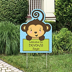 Blue Monkey Boy - Party Decorations - Birthday Party or Baby Shower Personalized Welcome Yard Sign
